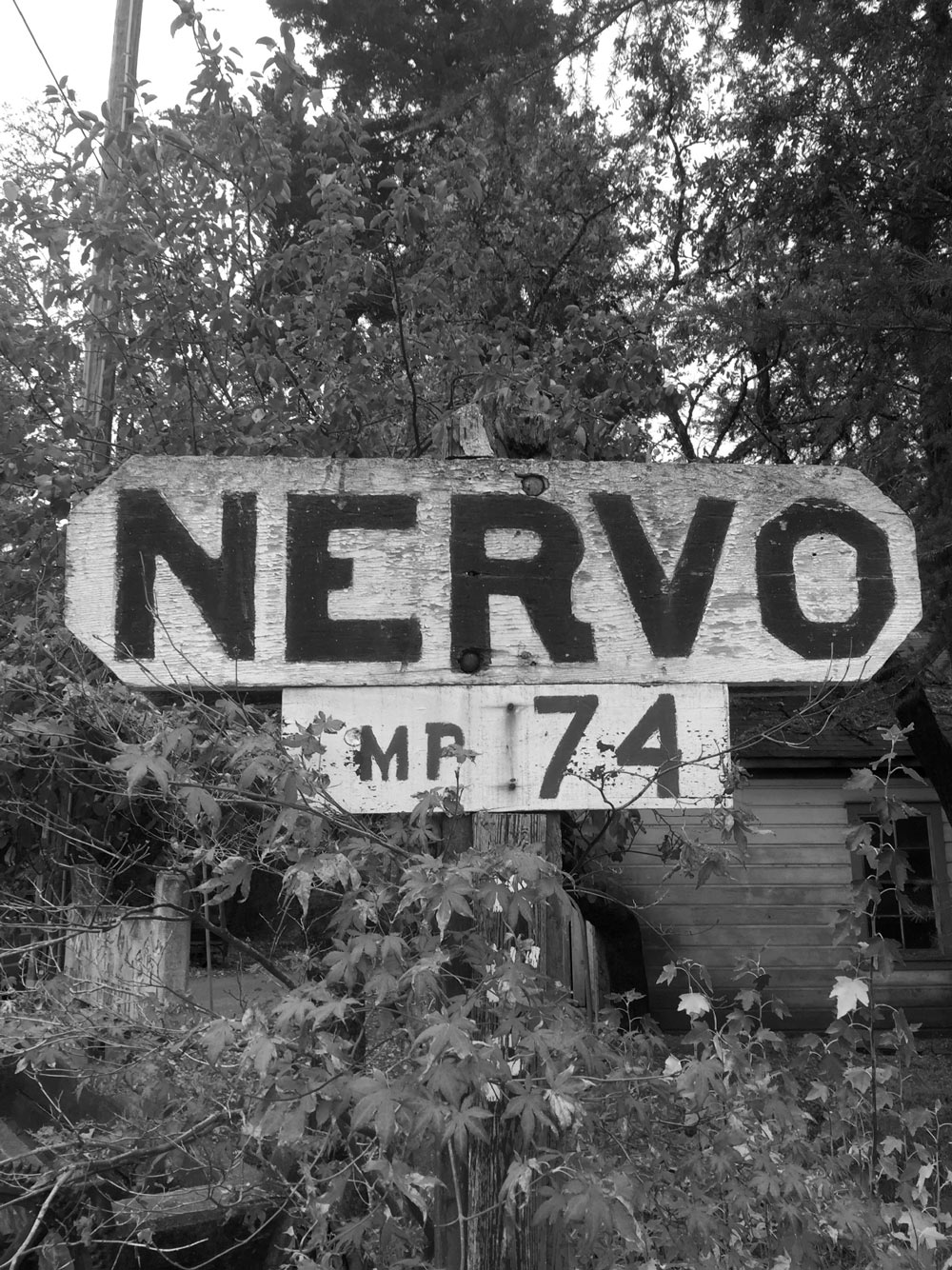 Black and white Nervo Ranch sign