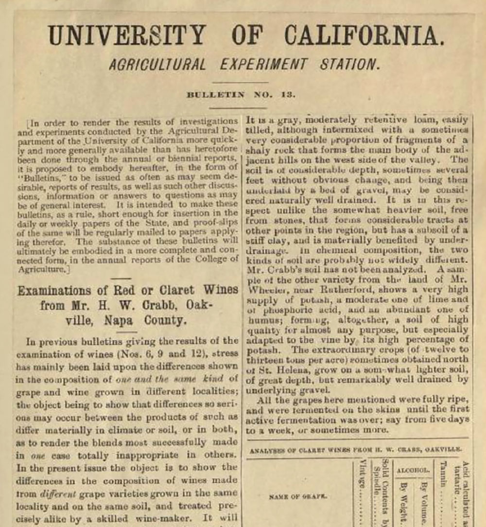 "A clip from the University of California Agricultural Experiment Station about W.H. Crabb's ""Red or Claret Wines"" in Oakville."